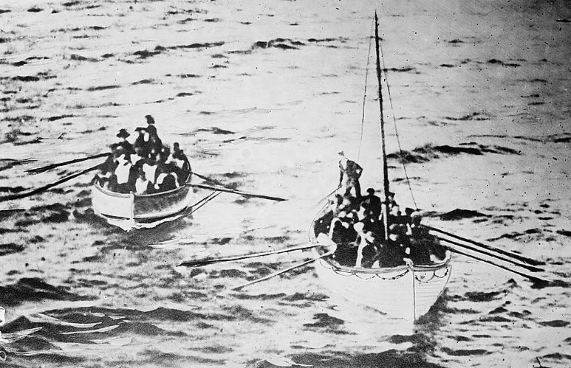 Slide 32 of 46: There were just 20 lifeboats onboard, enough for around 1,700 crew and passengers. Priority was given to women and children, with a much greater percentage of first-class passengers saved than those in steerage.