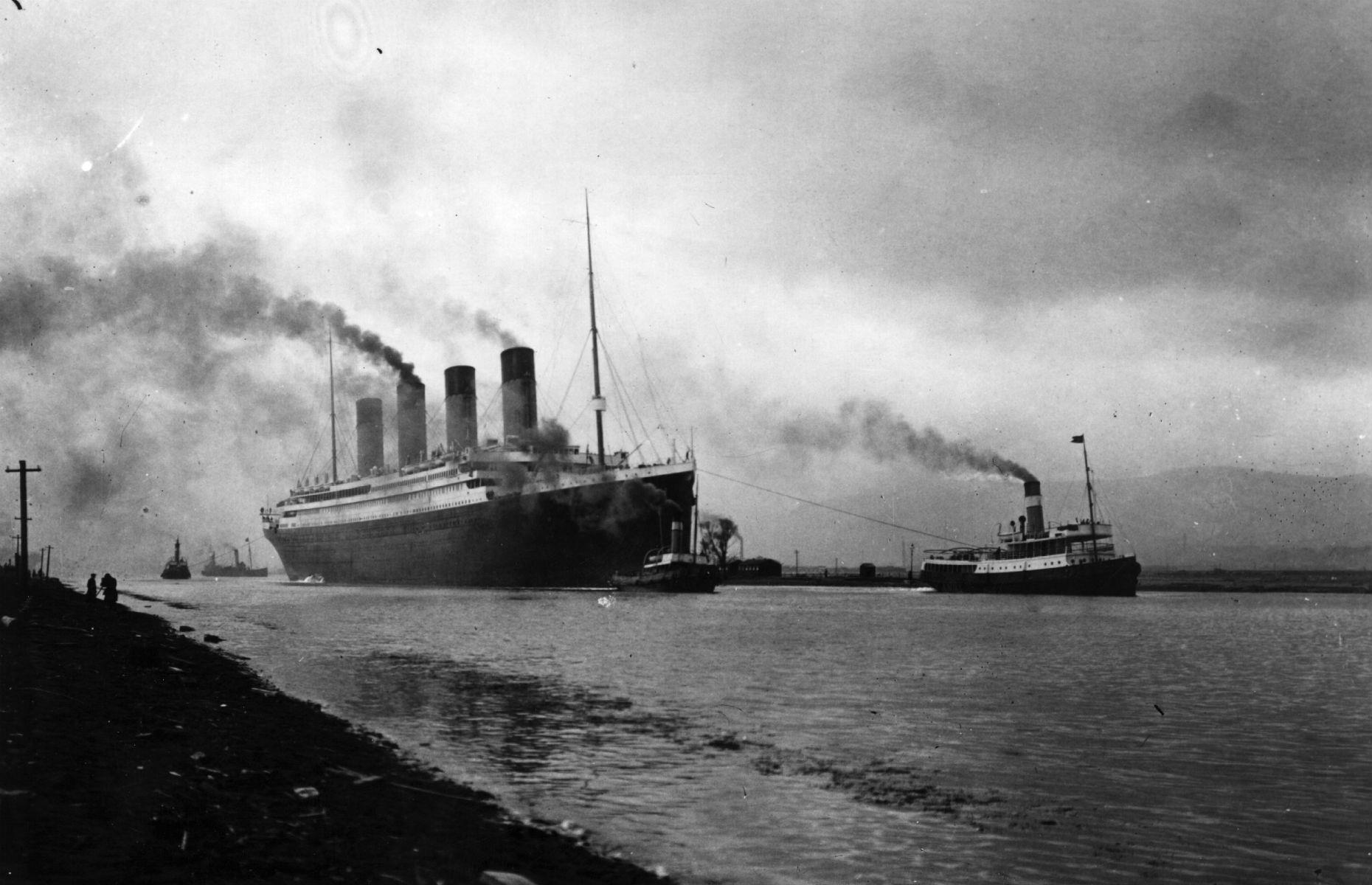Slide 5 of 46: Despite many setbacks the RMS Titanic sailed on her maiden voyage on10 April 1912 from Southampton. The Titanic made two stops before heading out to the Atlantic Ocean, calling at Cherbourg in northern France and Queenstown (now called Cobh) in County Cork, Ireland.