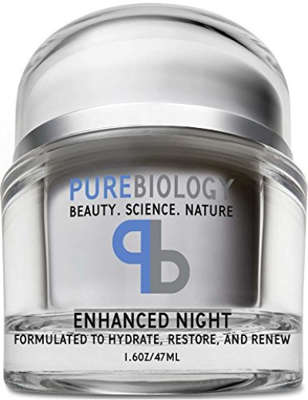 a close up of a bottle: pure biology night cream face moisturizer
