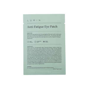 a close up of text on a white background: Lumin Anti-Fatigue Eye Patch