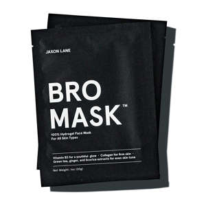 a close up of a logo: jaxon lane bro mask for men, anti-aging sheet masks