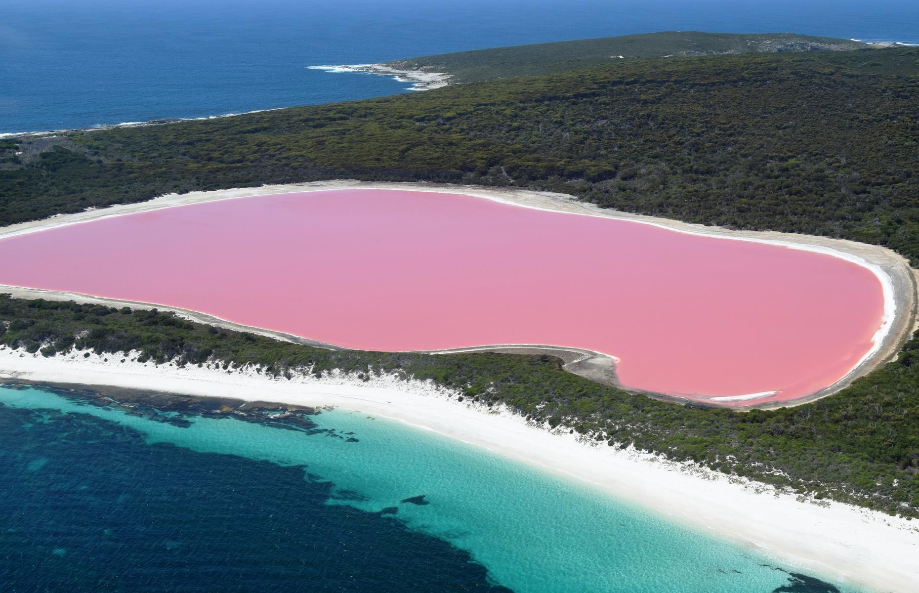 Slide 24 of 31: Pink sand we can just about handle. But a bubblegum-colored lake? From above, contrasting with the nearby blue of the Pacific, Lake Hillier is utterly surreal. Its color is still something of a mystery but the most commonly accepted theories relate to the lake's high salinity.