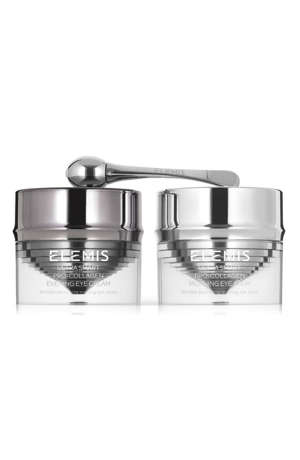 a silver bowl: Elemis pro collagen anti-aging eye treatment duo