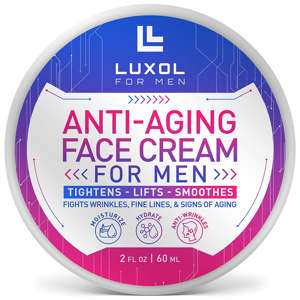 a close up of a sign: Luxol anti-aging face cream moisturizer