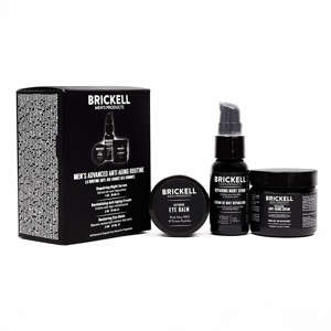 a close up of a piece of paper: Brickell for Men anti-aging kit with eye balm, anti-aging serum and anti-aging cream
