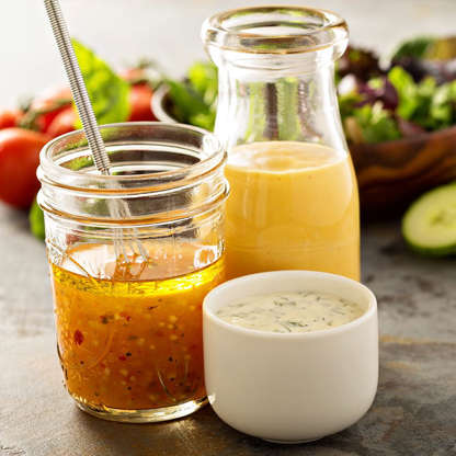 Slide 7 of 41: It's far easier (and cheaper) to prepare your own dressings for those nutritious salads that you're making yourself. Plus, you're ditching all the added fat, sugar, and calories that come in the bottled brands, which essentially make eating salads in the first place a waste of time.