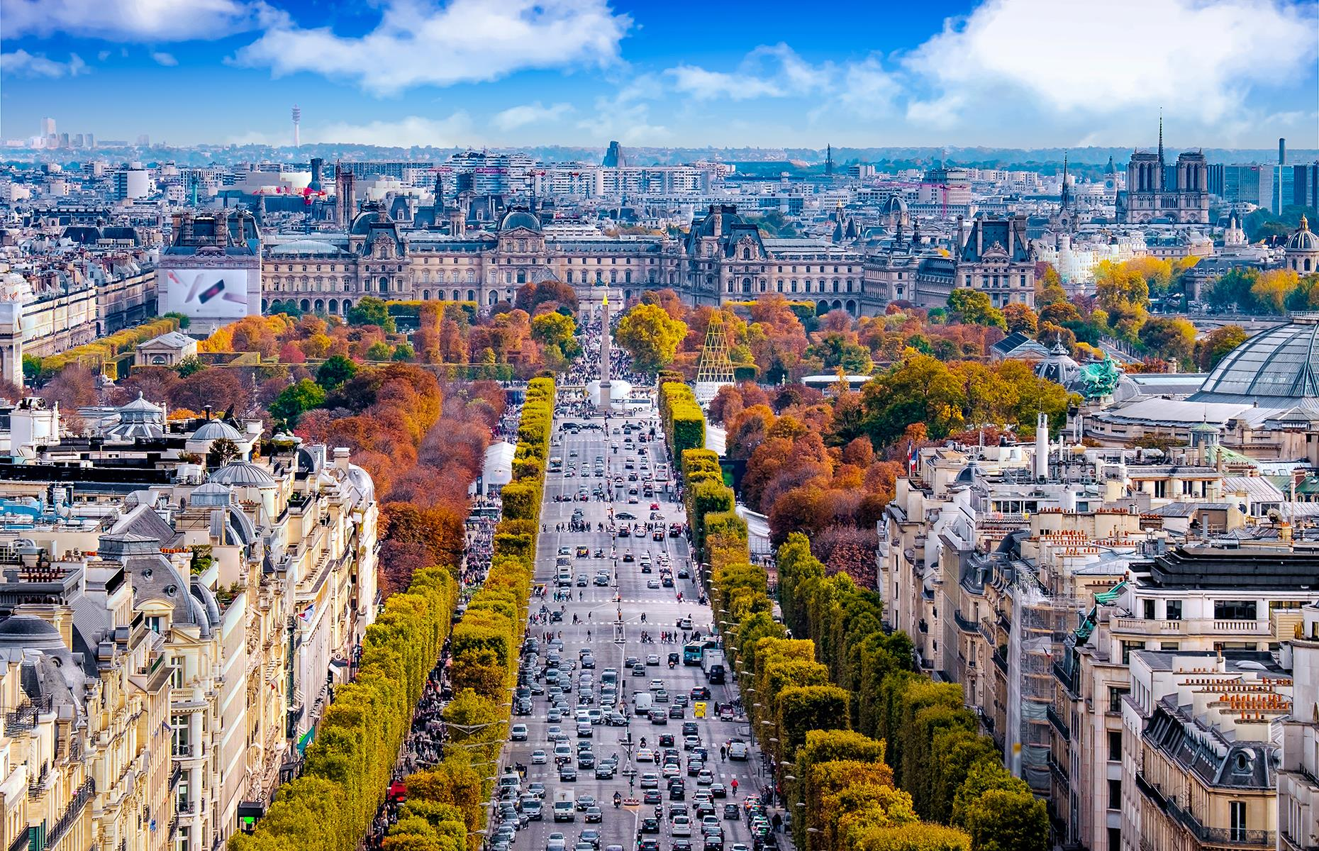 Slide 3 of 31: Usually visited by around 300,000 people every day, the Avenue des Champs-Élysées is, quite simply, picture perfect. Just over 1.2-miles (2km) long, it's a straight tree-lined avenue, connecting two of Paris' main attractions: Place de la Concorde and the Arc de Triomphe. The avenue, affectionately called Les Champs by locals, is home to some of the most exclusive designer stores in the city, as well as the famous Ladurée patisserie.