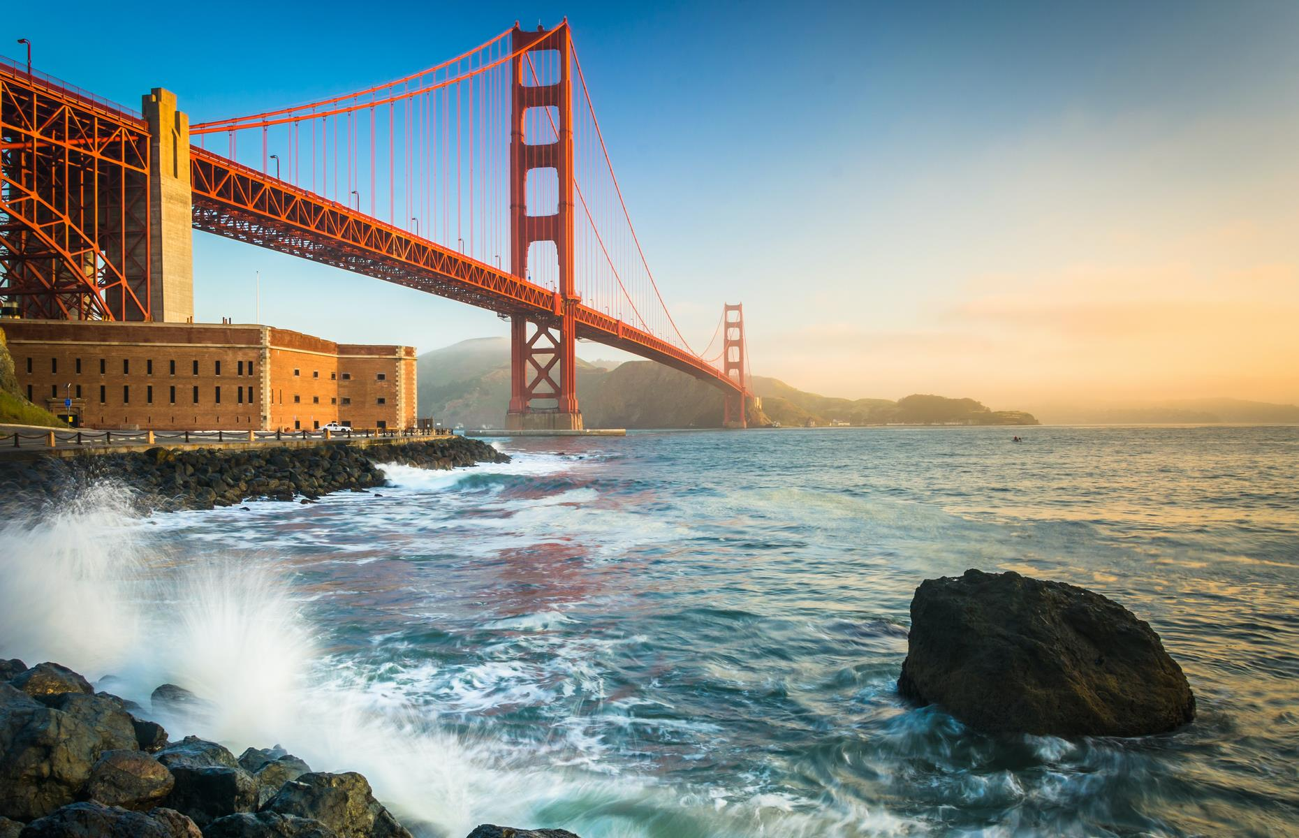 Slide 30 of 41: Fort Point is still a prominent landmark on San Francisco's photogenic bay. It was built between 1853 and 1861 to protect from naval attacks when San Fran became the west coast's most important city after the Gold Rush. However it's now dwarfed by the gorgeous Golden Gate Bridge.