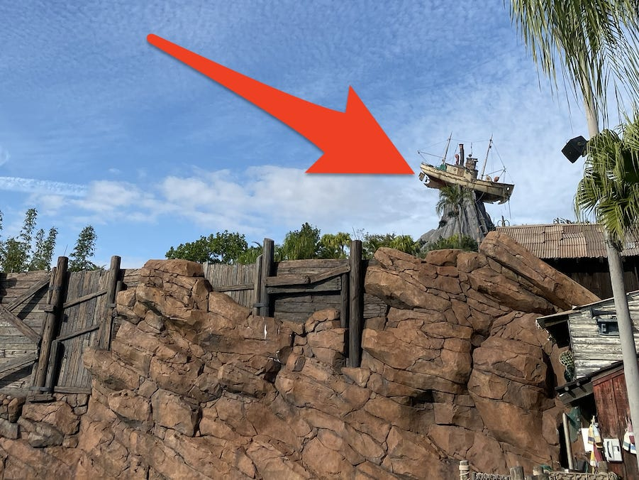 """Slide 8 of 17: Mount Mayday is the focal point of Typhoon Lagoon, and on top of the mountain is Miss Tilly, a boat that was thrown around during a fictional storm that """"created"""" the water park.If you ride Miss Adventure Falls you might notice that it's """"owned"""" by Captain Mary Oceaneer.This character is part of the Society of Explorers and Adventurers, a fictional group that has storylines throughout the Disney Parks, including at Magic Kingdom's Skipper Canteen restaurant, Tokyo Disney Sea's version of Tower of Terror, and even AbracadaBar at Disney World's BoardWalk.Captain Mary Oceaneer is also prominently featured on the Disney Cruise Line."""
