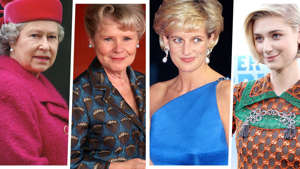 Elizabeth II, Imelda Staunton, Diana, Princess of Wales, Elizabeth Debicki posing for the camera