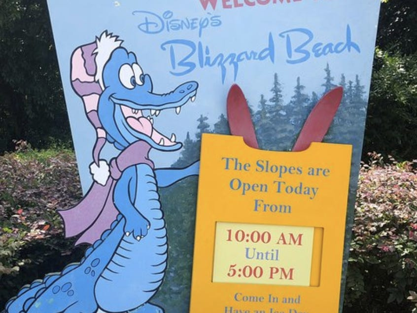 Slide 2 of 17: Disney's Blizzard Beach and Disney's Typhoon Lagoon water parks both have unique gator mascots.Ice Gator resides at Blizzard Beach and has been a prominent figure at the park since its opening in 1995.Lagoona Gator is Typhoon Lagoon's version of the mascot, but he didn't arrive until after the company saw how popular Ice Gator was at Blizzard Beach.