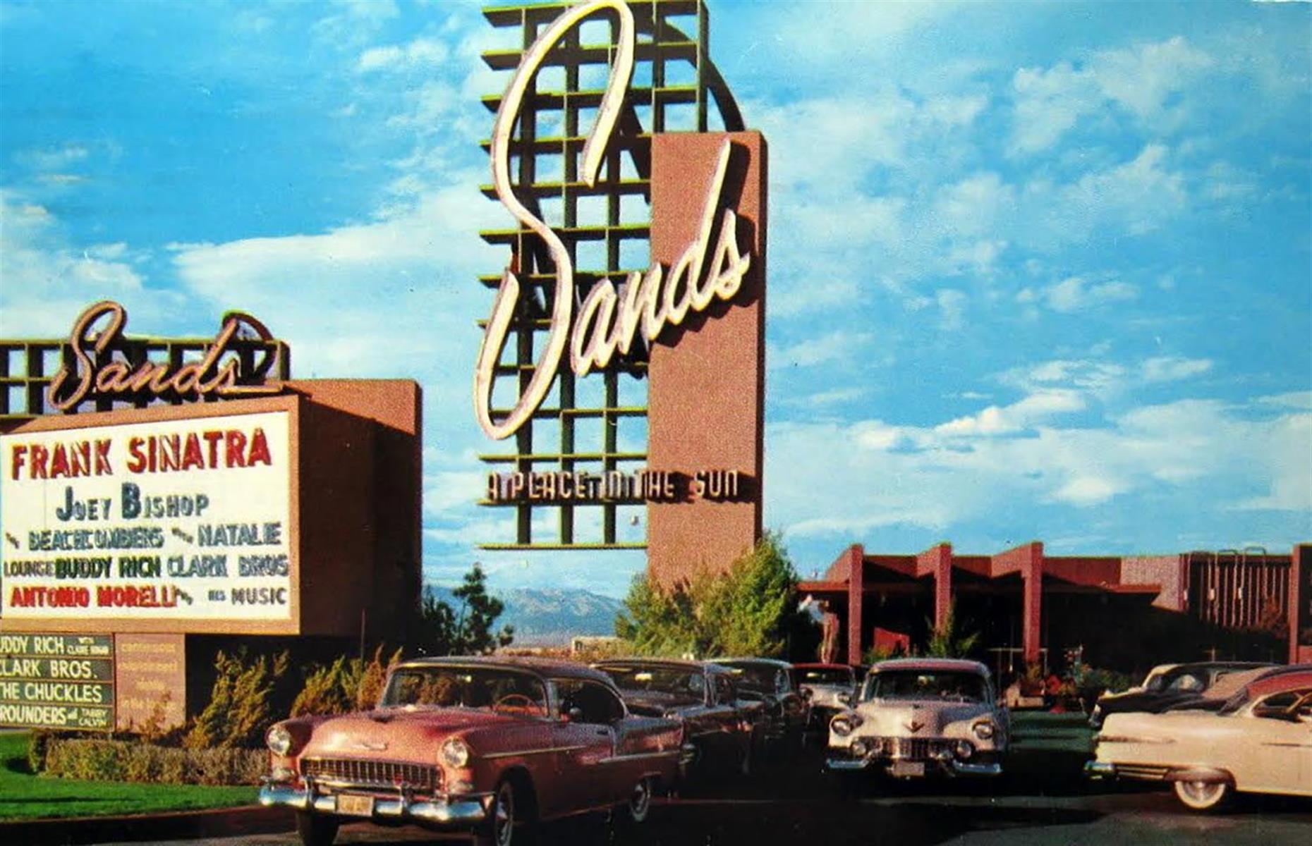 Slide 17 of 34: Several of Sin City's most famous hotels opened in the 1950s, solidifying Las Vegas' position as the gambling and entertainment capital of the US. In 1952, the Sahara and the Sands opened, and Riviera, Royal Nevada and Dunes followed in 1955. Tropicana launched on 4 April 1957 and Stardust – the largest Nevada hotel at the time – opened in 1958. Collectively, these hotels are largely responsible for bringing about Las Vegas' Golden Age.