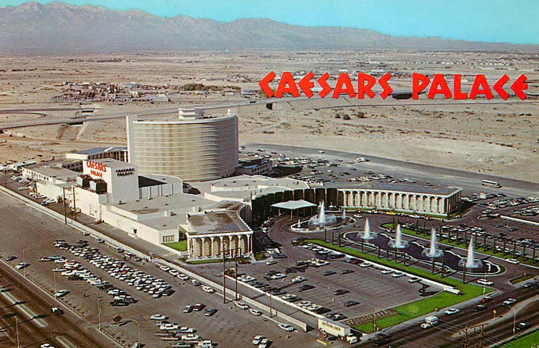Slide 23 of 34: By the late 1960s, it was clear that to compete with existing hotels and casinos, new ventures would have to be special. Cue Caesars Palace and the Circus Circus. Opened in 1966 and 1968 respectively, both hotels were banking on their themed decor to bring in the dollars. Caesars Palace (pictured here in 1970) took inspiration from the Roman Empire, complete with marble columns and statues while the Circus Circus' main structure was designed as a giant circus tent – these hotels were first to set the trend for themed hotels in Vegas.