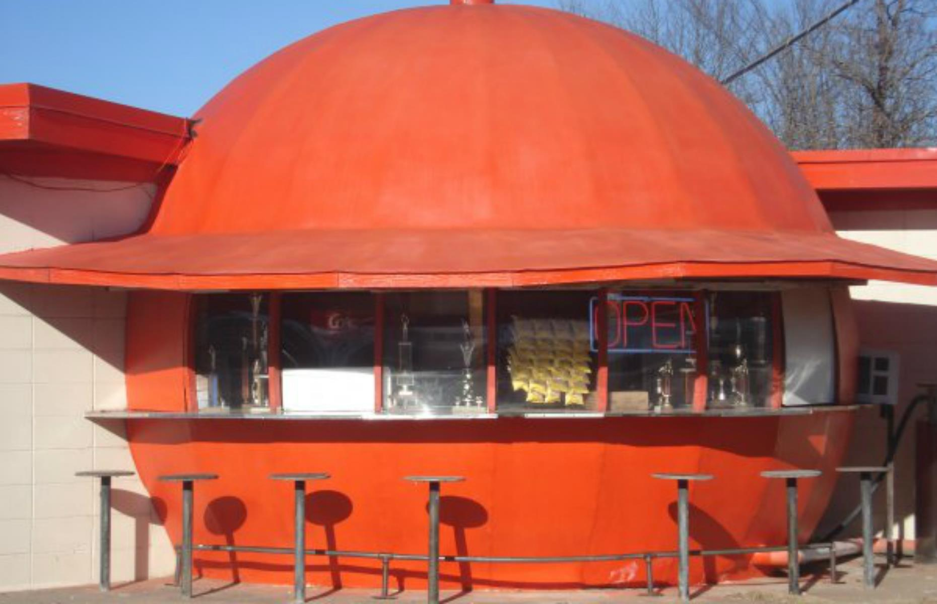 Slide 9 of 33: If a giant orange by the roadside doesn't seem strange enough, the fact that this is a burger restaurant – rather than a juice bar – makes this spot even more brilliantly bizarre. It's in Redfield, just off the road between Little Rock and Pine Bluff, and was built in 1966, inspired by a similar restaurant in Fresno, California. The hot dogs and hamburgers are highly rated.