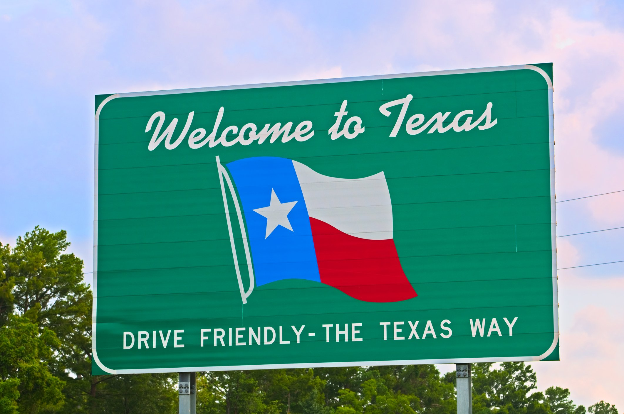 Slide 44 of 51: Texas showcases its state flag on the welcome sign, but we were expecting something a bit bigger and bolder.