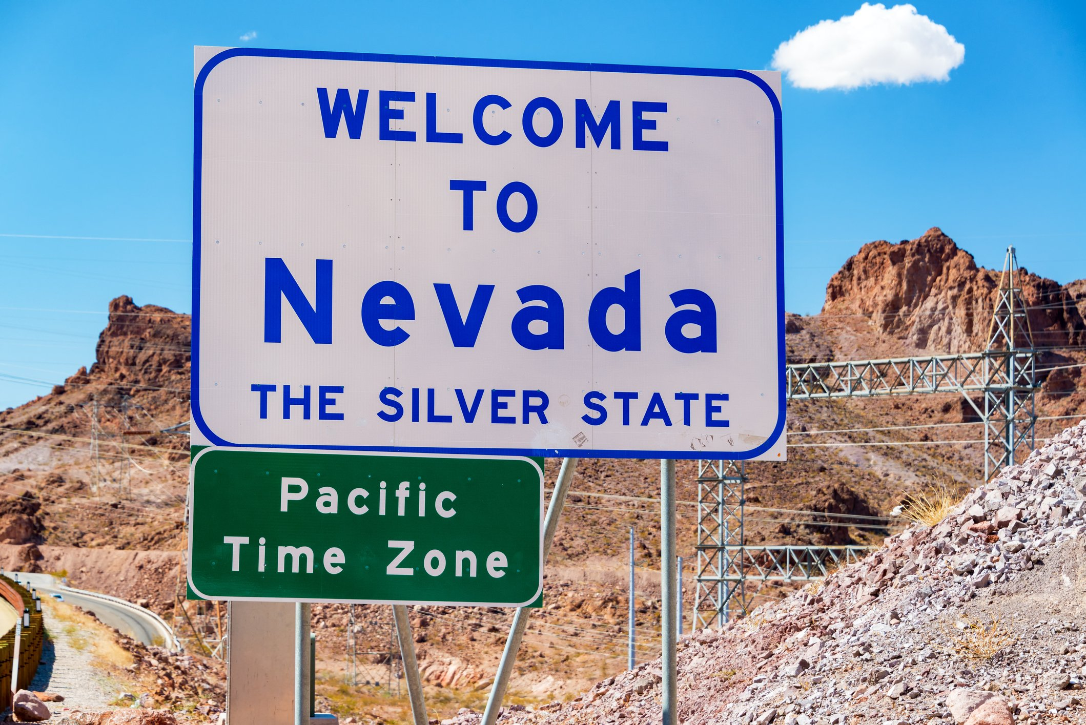 Slide 29 of 51: This sign is definitely not as colorful as the iconic Las Vegas sign, but it gets the job done.