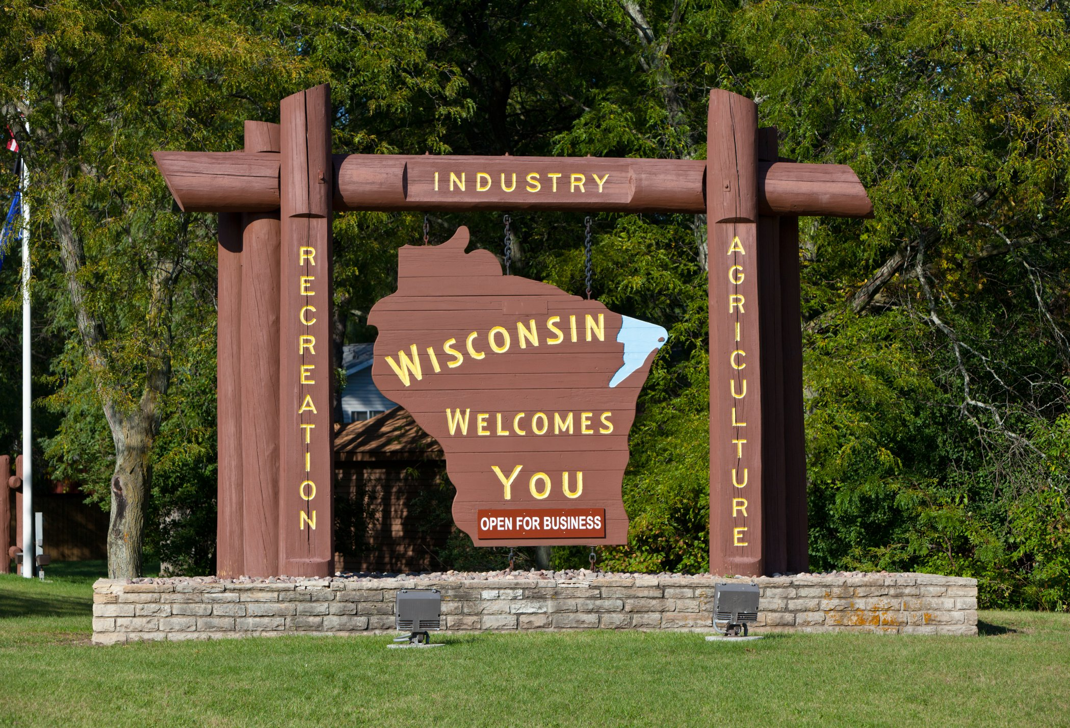 Slide 50 of 51: The Wisconsin sign is, unfortunately, missing cheese, but its charm makes up for the loss.