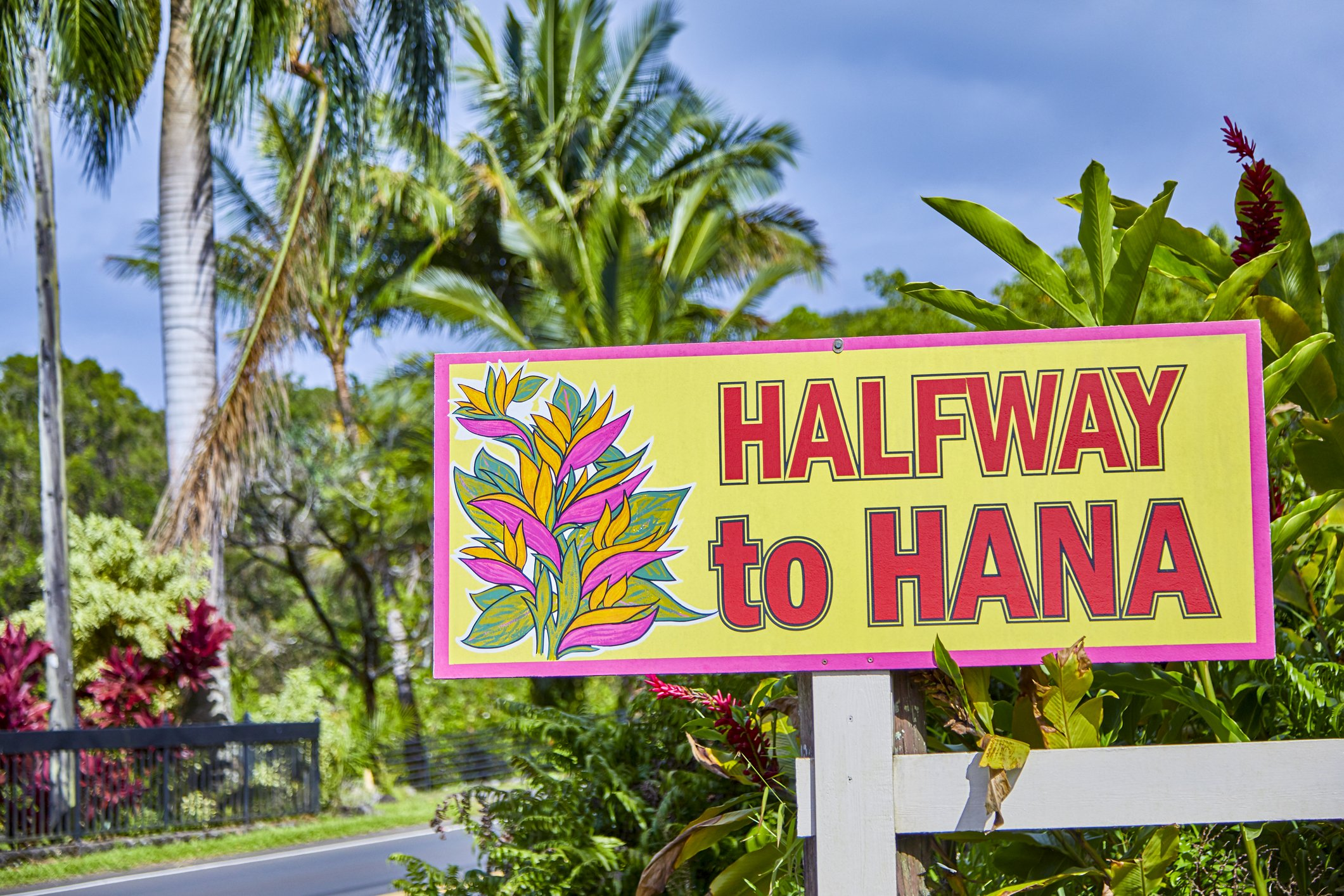 Slide 12 of 51: Hawaii is the only state that doesn't have an official state sign, but there are signs for various cities throughout the islands such as this one in Maui. Take a look at the literal translation of every state name.