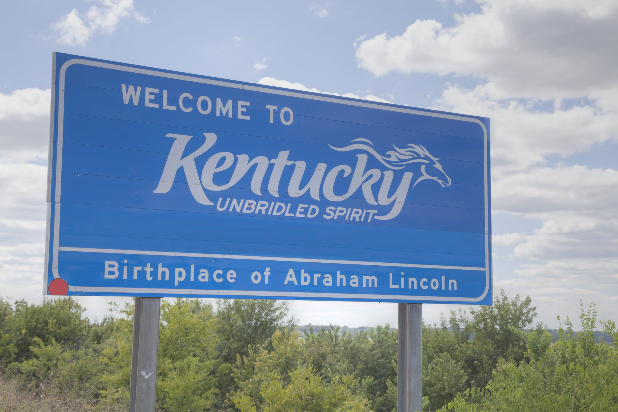 Slide 18 of 51: Known for the Kentucky Derby, you can see a horse hidden within the state sign. Don't miss these Kentucky Derby facts you never knew.