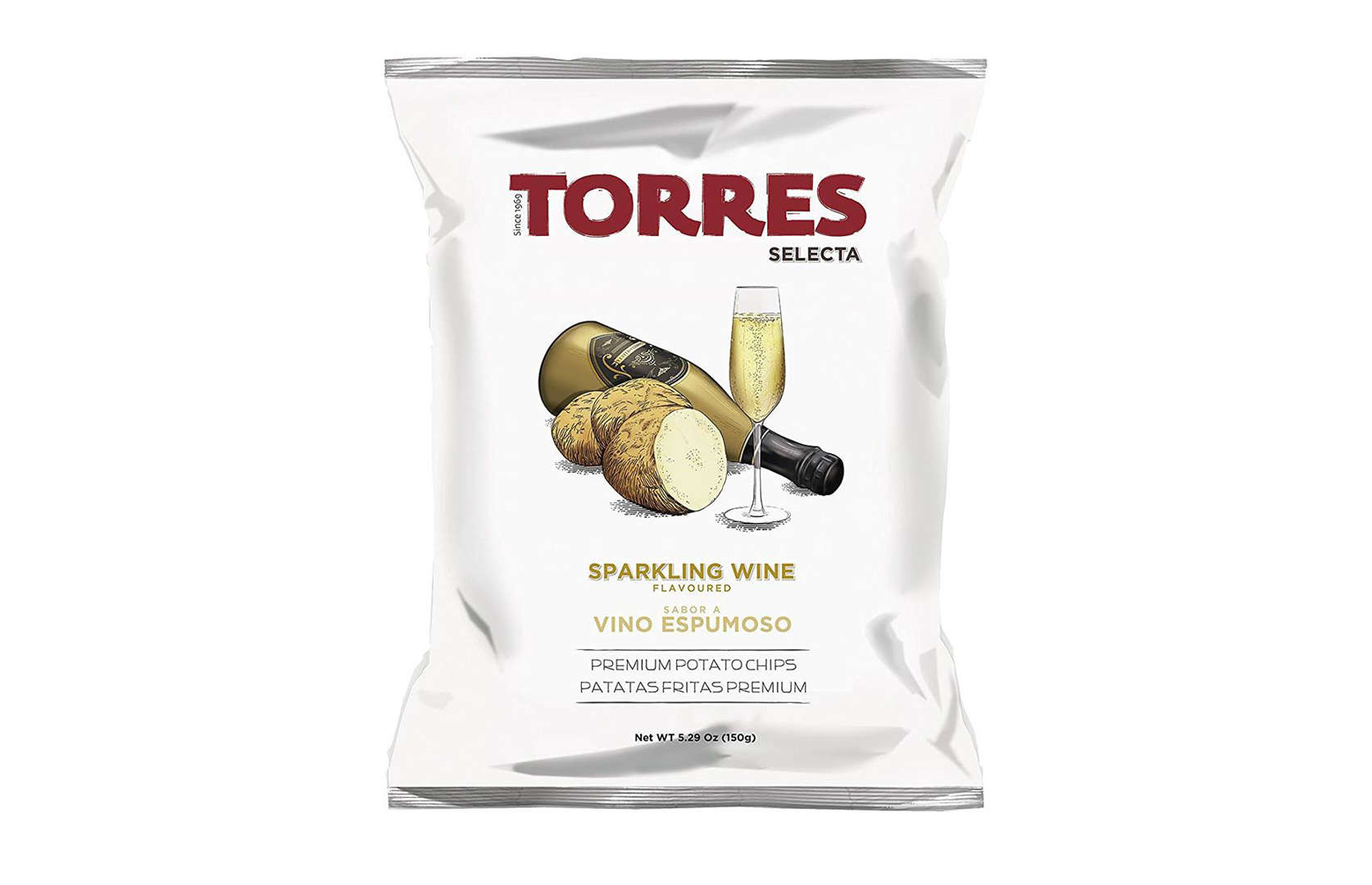 Diapositiva 4 de 32: Un verdadero bocadillo de celebración, se dice que estas chips de vino espumoso de la marca española Torres tienen notas afrutadas y un efecto burbujeante, debido al sabor del vino espumoso y al caramelo reventado. También nos gusta el atractivo y sofisticado envase.