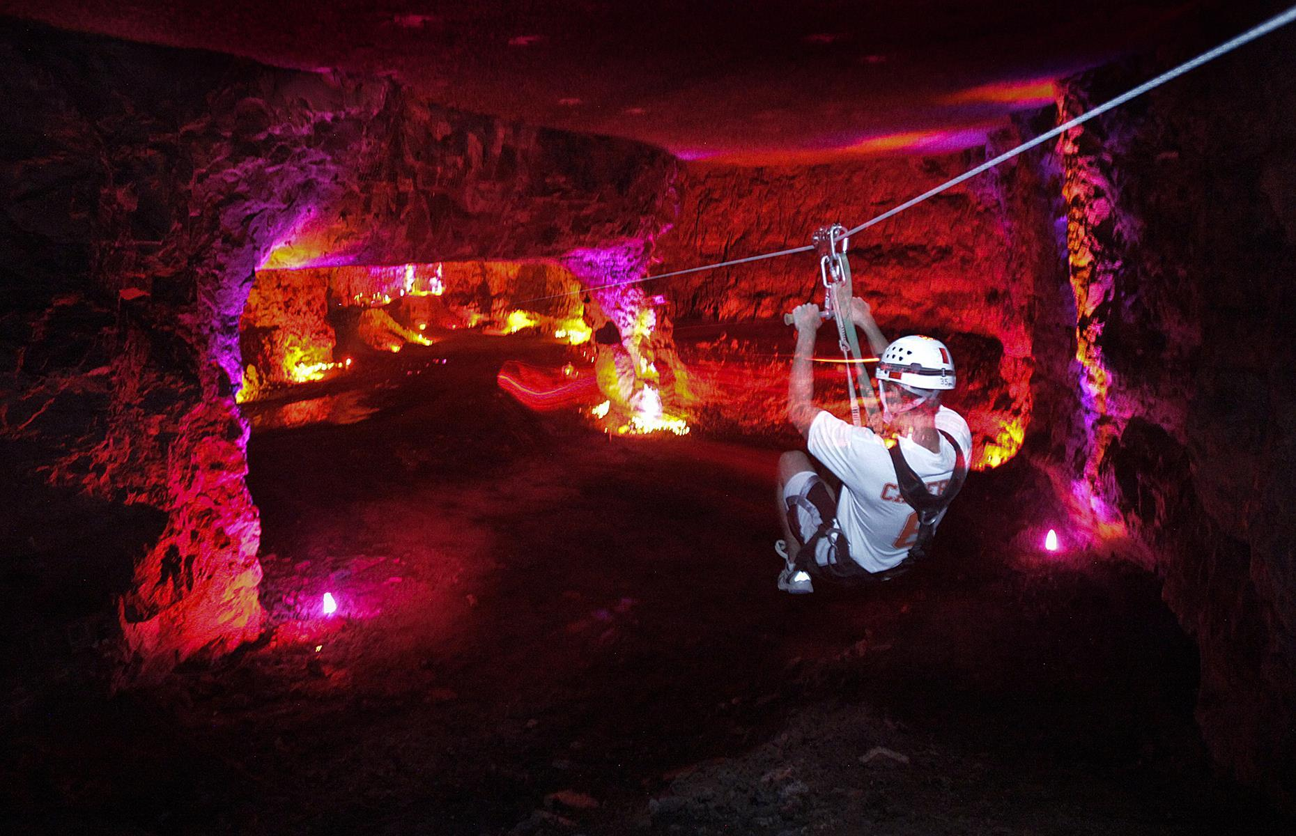 Slide 25 of 27: Louisville Mega Cavern is actually a vast 100-acre limestone quarry, hollowed out by blasting when it was mined in the mid-20th century. Today, it houses Mega Zips which boasts the title of the world's only fully underground zip line course. Get your blood pumping as you slide through the air, reaching heights of up to 70 feet (21m). Discover the world's most incredible underground attractions.