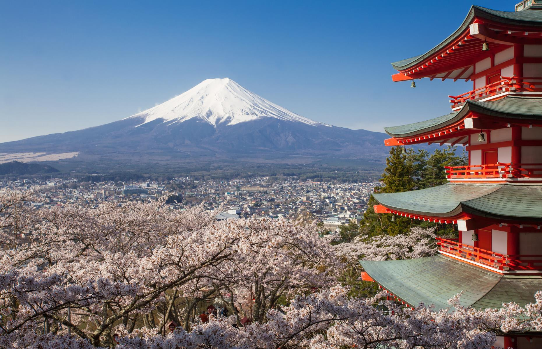 Slide 6 of 41: Around 60 miles (100km) from Tokyo, Mount Fuji is Japan's most iconic peak and some would say that the snow-capped view is best appreciated from afar. Fuji-san, as it's known locally, is long overdue an eruption as the last time it happened was 1707.