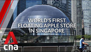 a person standing in front of a building: CNA Lifestyle went on a quick tour of the new Apple Store, which opens to the public on Sep 10. It features an all-glass dome structure, which was partly inspired by Rome's Pantheon. It also boasts Apple's first underwater boardroom.   Read more: https://cna.asia/331FBBe  Even more photos: https://cna.asia/3bzPrOy  Subscribe to our channel here: https://cna.asia/youtubesub 