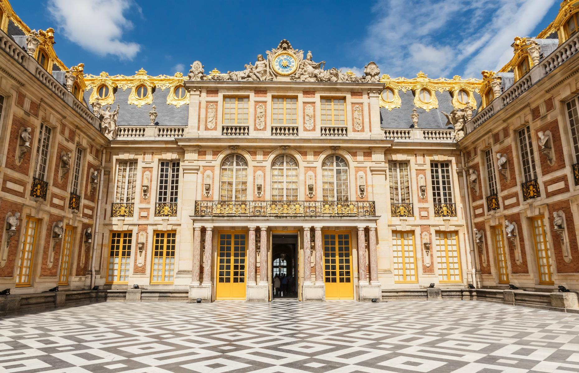 Slide 44 of 61: Famously the one-time residence of Marie Antoinette, the Palace of Versailles (or Château De Versailles) near Paris is well renowned for its opulence and extravagance. Constructed in the 17th century, Versailles served as the French royal family's home until the Revolution, which began in 1789.
