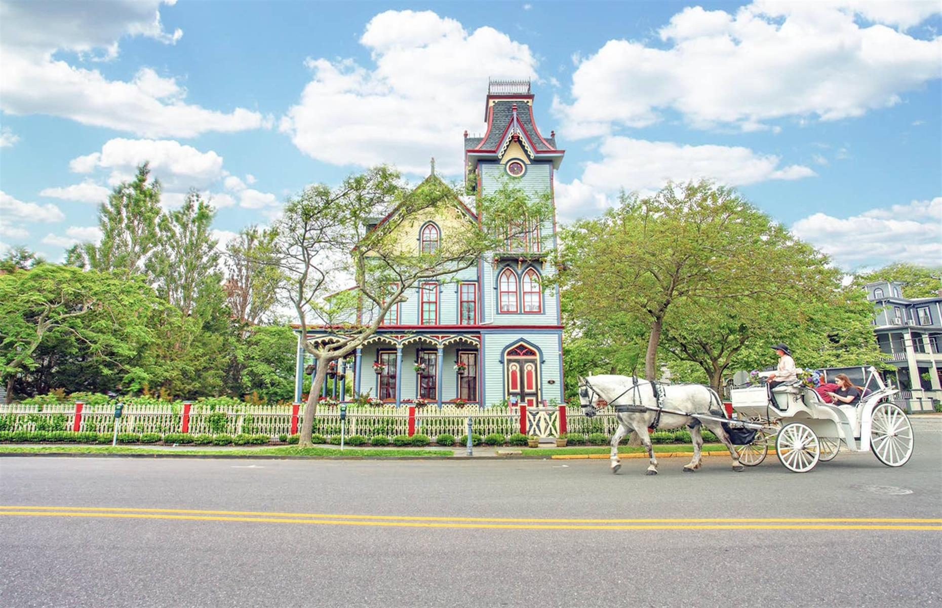 Slide 32 of 52: Located in the heart of Cape May's historic district, this charming late Victorian villa offers nine bedrooms that are all individually decorated and named after American cities, like Savannah, New Orleans and San Francisco. The beautiful home has a gorgeous patio too and is centrally located with easy access to restaurants and the beach.