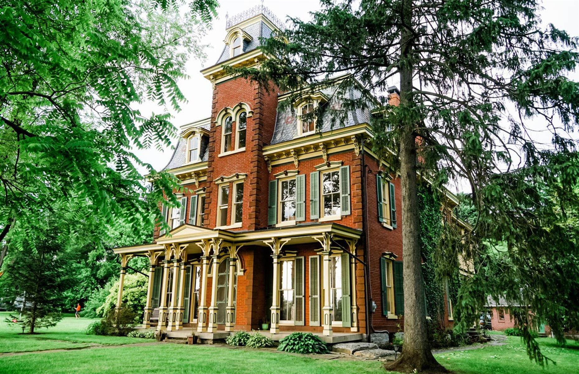 Slide 40 of 52: Built in the 1860s, this historic eight-bedroom mansion is set on two and a half acres of atmospheric pine forests and rolling farmland in Lebanon County. With easy access from Philadelphia, Wilmington, Harrisburg and Allentown, it's in a superblocation.