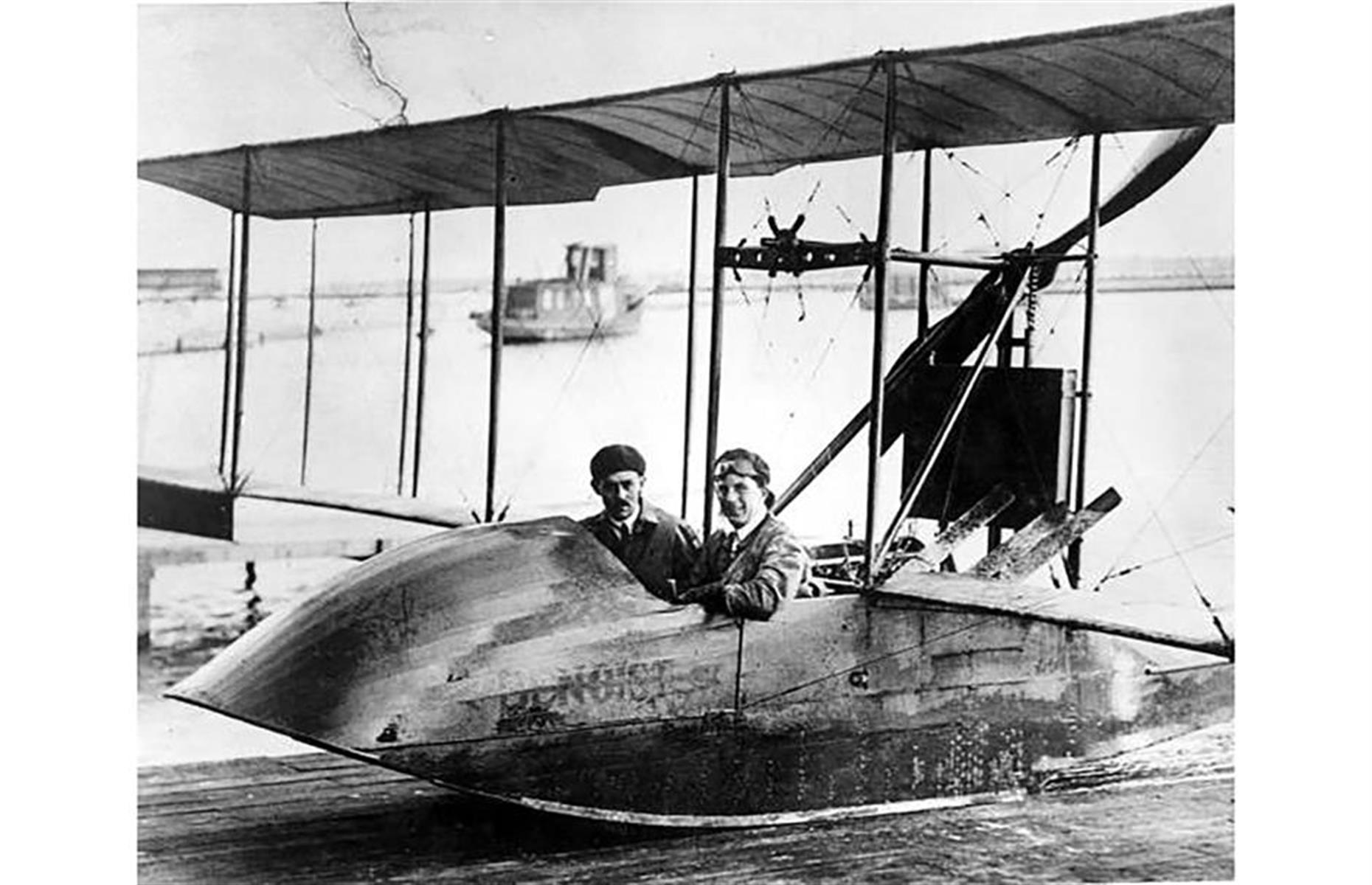 Slide 2 of 35: This rather modest looking flying boat was in fact responsible for the world's first scheduled airline flight. Designed by Thomas W. Benoist, the Benoist Type XIV flew from St Petersburg to Tampa in Florida in 1914 and was one of two aircraft belonging to the St Petersburg–Tampa Airboat Line.