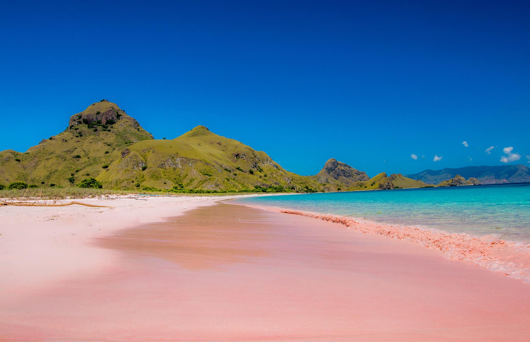 Slide 34 of 43: There are thought to be just a handful of pink beaches in the world and one of the most famous (and most spectacular) can be found on Komodo Island in Indonesia. The beach's pastel hue is created when the red shells of tiny creatures called foraminifera combine with white sand. Sandwiched between crystalline waters and a rugged green landscape, this pink sand strip is almost too pretty to be real.