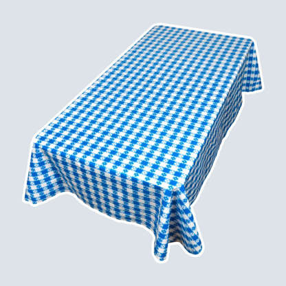 Slide 6 of 10: For a twist on the traditional gingham tablecloth, try this blue floral-patterned one. It has the easy-cleaning, durable vinyl surface you love in a tablecloth, so it's perfect for parties. Just wipe up any messes and get on with the lawn games! Shop Now