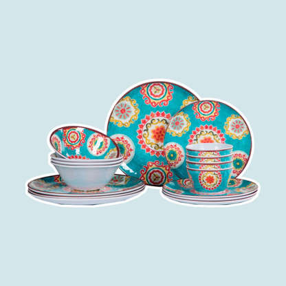 Slide 2 of 10: Just because summer's almost done doesn't mean you can't still break out fun colors and patterns for your party. This 16-piece melamine set is perfect for outdoor use thanks to its durability and light weight. Check out these surprising Labor Day facts you probably didn't know. Shop Now