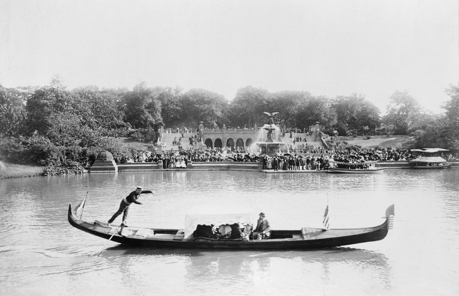 Slide 10 of 51: When Central Park officially opened in 1876 it became instantly popular with New Yorkers, with activities including gondolier trips on the lake (pictured here in 1894), carriage rides and model yacht racing favored by early visitors. The 840-acre park is one of the world's top attractions today and received a whopping 42 million visitors last year.