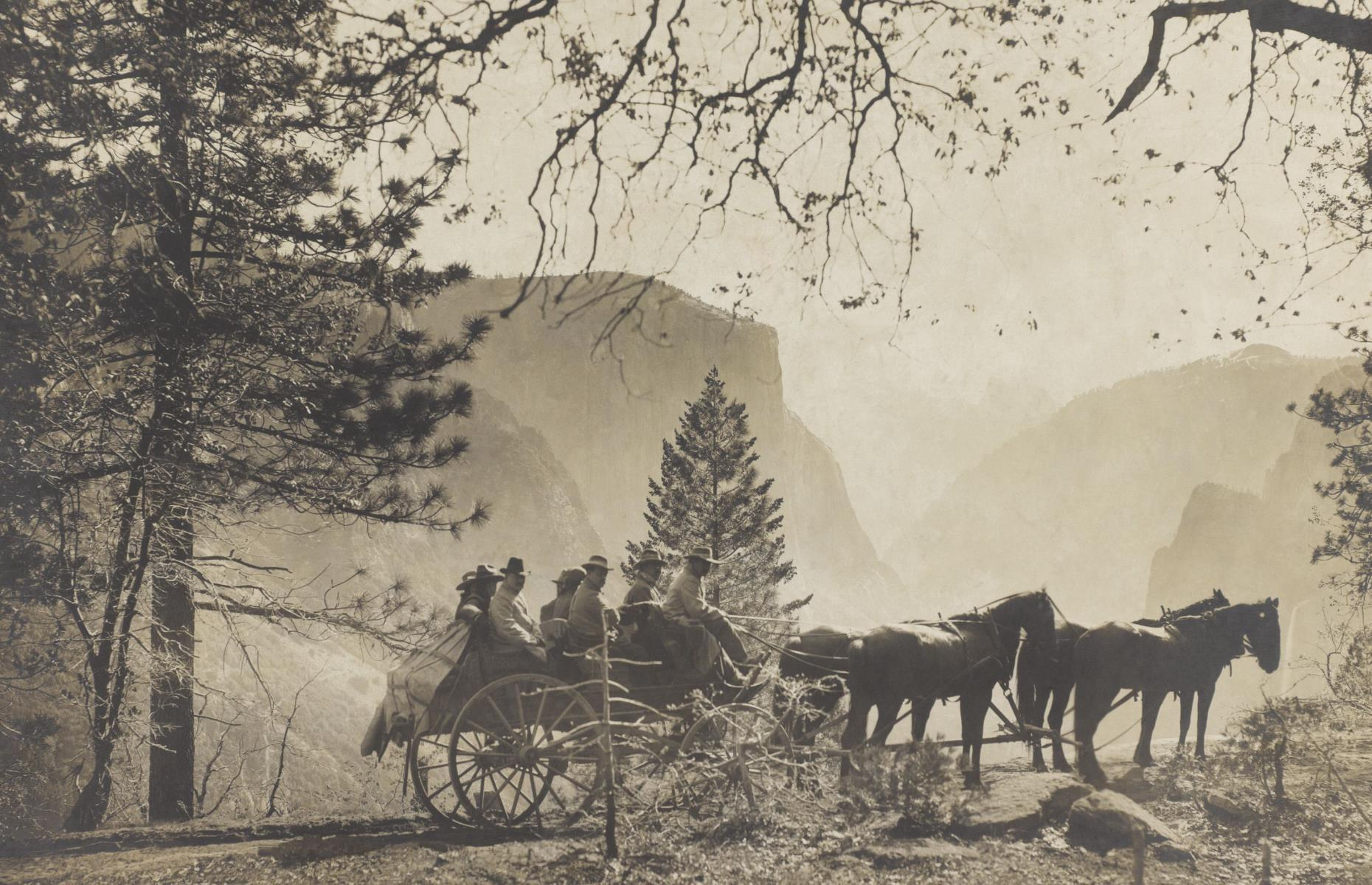 Slide 17 of 51: In this photograph, taken in 1903, Theodore Roosevelt visits Inspiration Point in the Yosemite Valley, accompanied by the well-known naturalist John Muir. Parts of the area were established as a State Park in 1864 before a National Park was confirmed in 1890, although it wasn't until 1906 that the parks were merged to create Yosemite National Park as we know it today. Tourism has risen significantly in the past 75 years: one million people visited the park for the first time in 1954, two million in 1976, and double that amount by the 1990s.