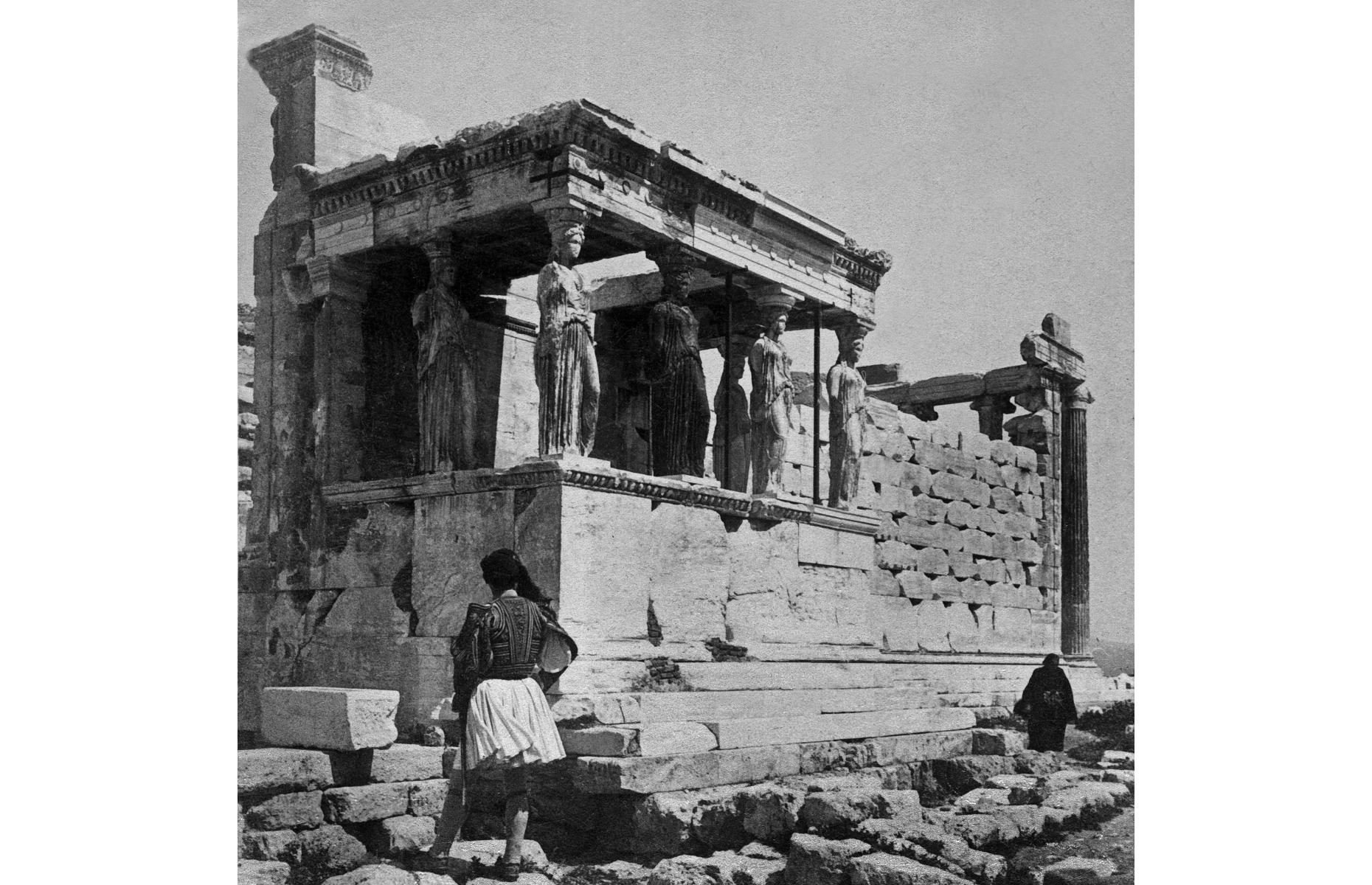 Slide 13 of 51: The UNESCO World Heritage Site of Acropolis in Athens is one of the oldest and most famous archaeological sites in the world. Located on a limestone hill above the city, it has been inhabited since prehistoric times, and today it's a popular attraction usually visited by 14.5 million people each year. Pictured here in 1897 is the Erechtheion Temple, which was built between 421 and 406 BC.