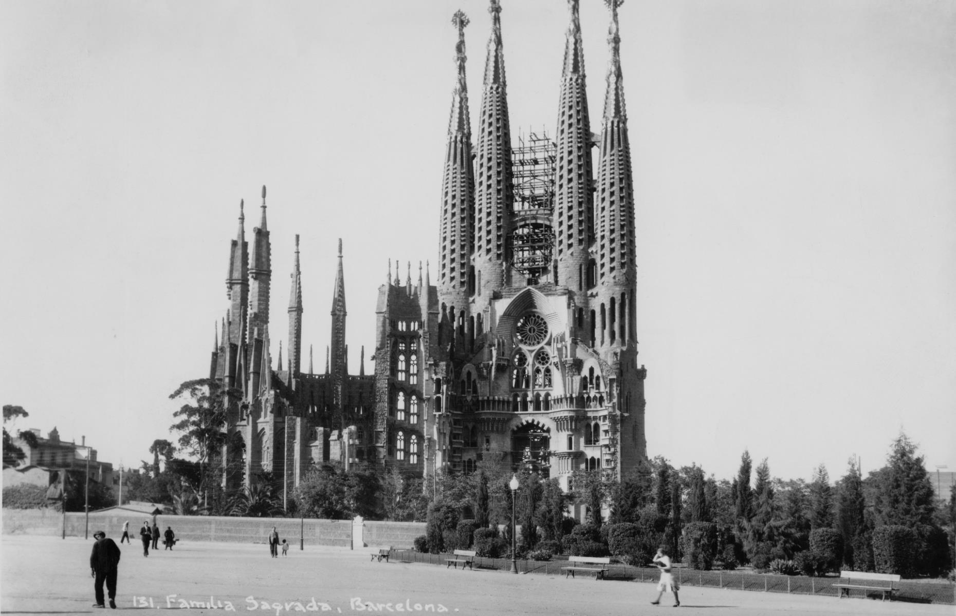 Slide 30 of 51: Designed by the renowned architect Antoni Gaudí, the Sagrada Família cathedral in the heart of Barcelona is an architectural feat of epic proportions. Construction began in 1882, yet by 1926, the time of Gaudí's death, only a quarter of it was completed. Building works halted due to the Spanish Civil War (1936-1939) and started again in the 1950s. Even today, it's still not finished, although the current team of architects claim it will be completed by 2026. The epic Neo-classical cathedral is pictured here in the 1940s. See more of the world's most amazing unfinished landmarks here.