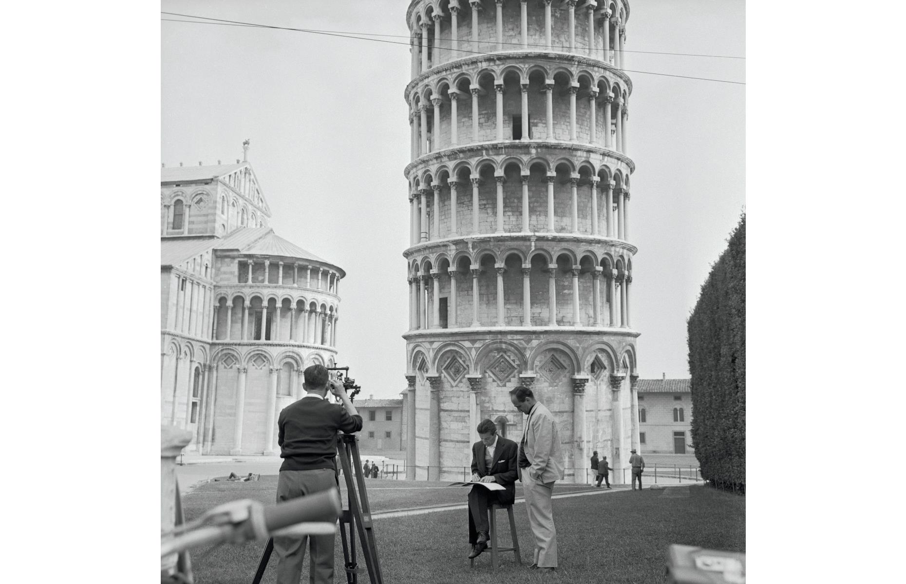 Slide 43 of 51: It's a little-known fact that the Leaning Tower of Pisa, located in the city of Pisa in Tuscany, central Italy, is actually increasing its tilt ever so slightly each year. Pictured here in the 1960s, researchers from the Pisa University Geodesic and Topography Institute carry out an annual measurement to check on the tower's tilt.