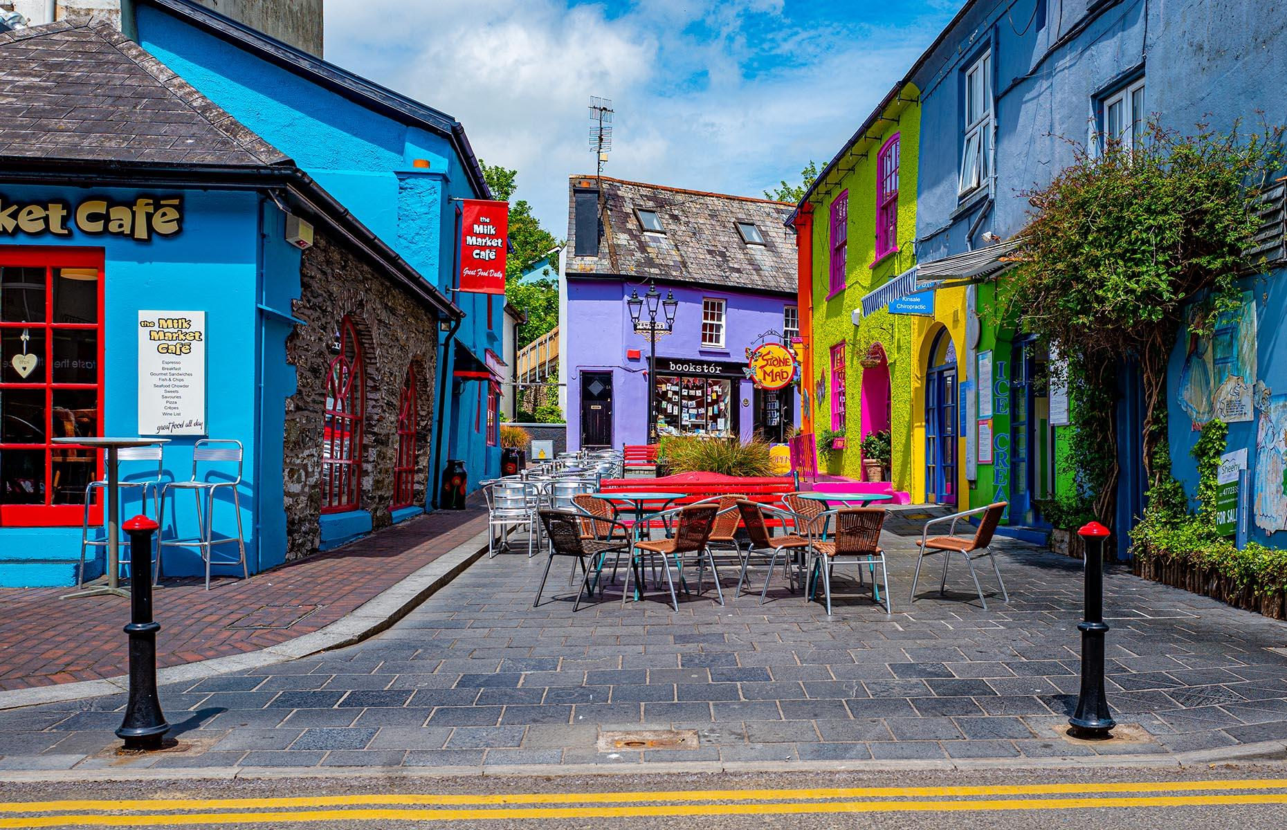 Slide 36 of 41: The Irish coastal town of Kinsale is famed for its exceptional cuisine which showcases the best of the bounty from the Celtic Sea. Besides the fanciful food on offer, Kinsale is also known for its quirky streets which are flamboyantly painted every color of the rainbow.