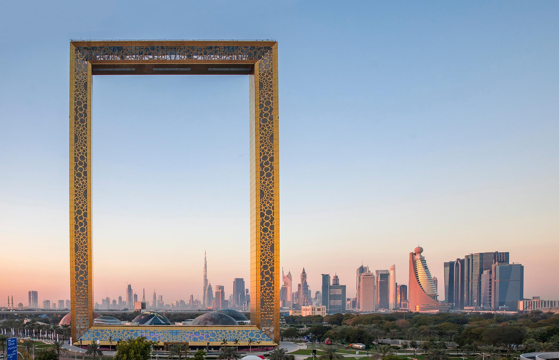 Slide 51 of 53: Rising from Dubai's Zabeel Park, the Dubai Frame is positioned with a view of the old city on one side and modern landmarks on the other. The top of the frame is an observation deck. Now try guessing these UK landmarks from their super close-ups.