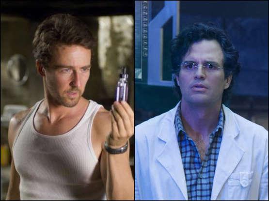 Slide 7 de 43: Edward Norton entrou em cena para 'O Incrível Hulk' em 2008. Depois, foi substituído por Mark Ruffalo, que estreou como herói nos filmes da franquia 'Os Vingadores'em 2012.