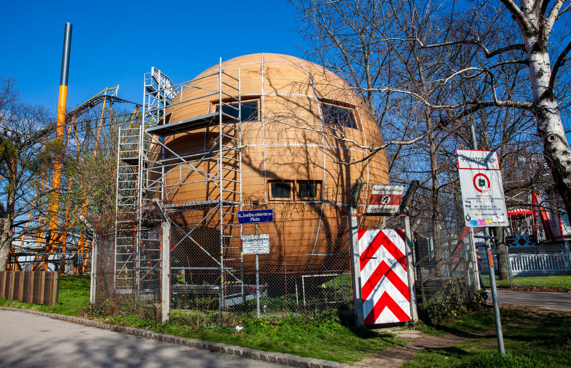 Slide 9 of 26: Located in Prater park in Austria's capital of Vienna, this ball-shaped house was proclaimed a republic in 1982 after a dispute between artist Edwin Lipburger and the authorities over its building permit. When Lipburger first built it 11 years earlier without permission in Lower Austria, he was arrested and sent to jail for 10 weeks.