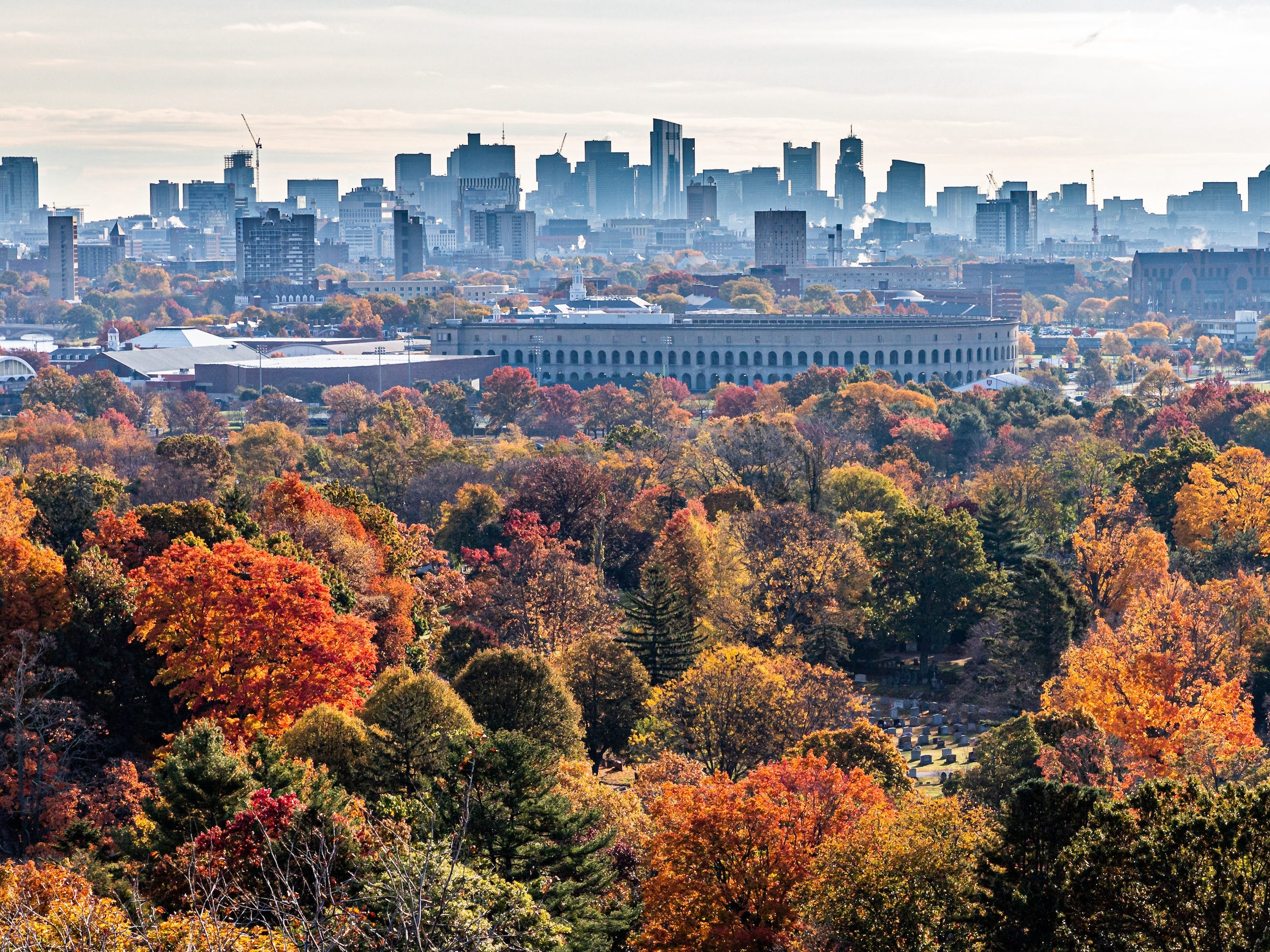 Slide 14 of 17: If you're more of a city traveler, it's hard to pick a better one than Boston in the autumn months. Like the rest of New England, the city features beautiful fall foliage.Boston is already picturesque and charming, but with the colors of autumn, it's even prettier than usual. The weather is ideal — not too hot or too cold — and there's plenty to see and do.Go shopping, get a great meal, or enjoy a historic tour of the city.