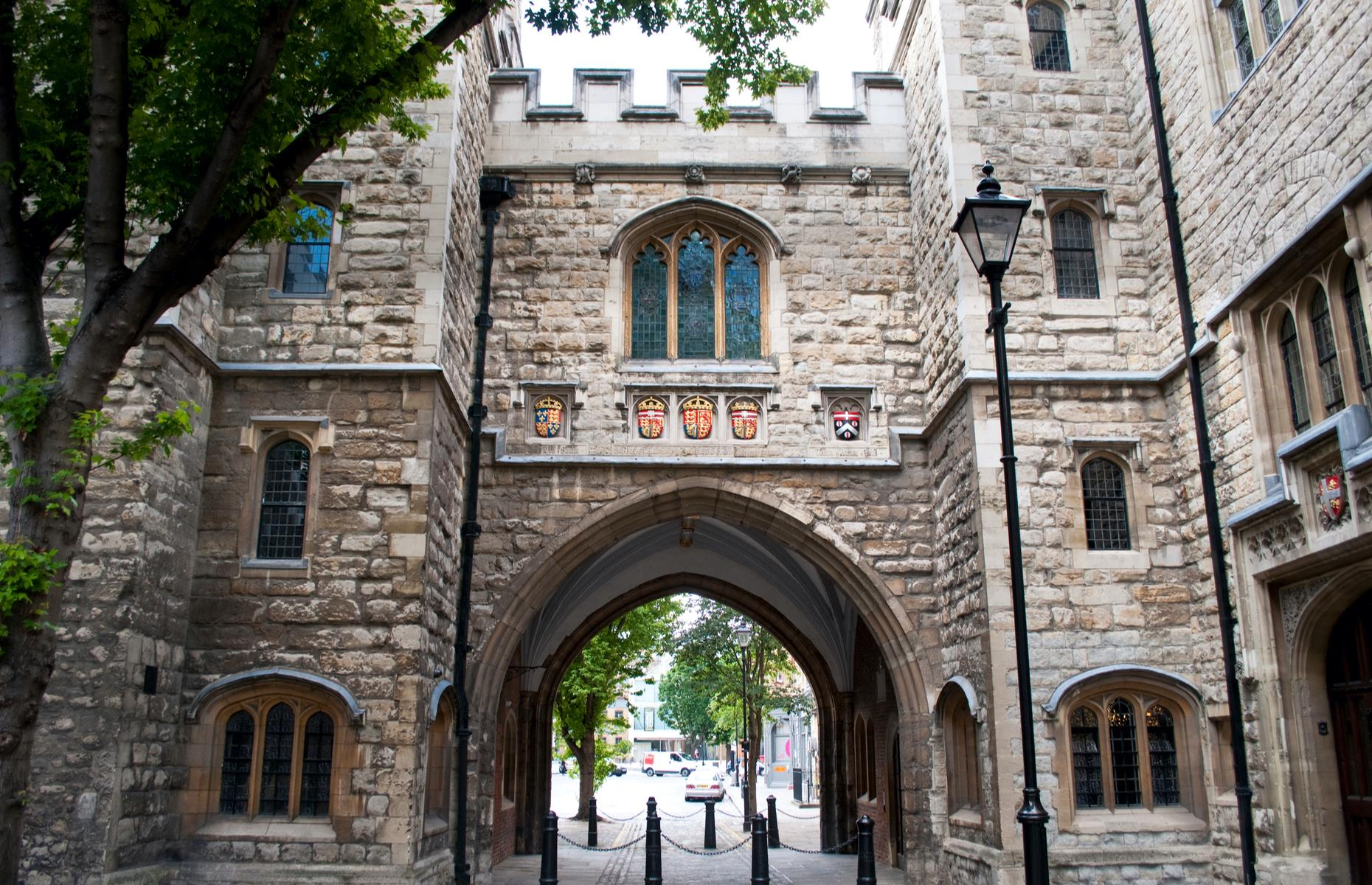 Slide 16 of 27: This impressive ancient gateway is an incongruous site amid the office blocks of Clerkenwell. The historic home of the Order of St John, it was built in 1504 as the southern gatehouse to the Priory at Clerkenwell, which was founded in the 1140s. After Henry VIII's dissolution of monasteries, it had various uses including the offices of the Master of the Revels where 30 of Shakespeare's plays were licensed.