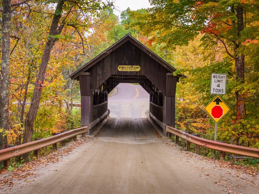 Slide 46 of 51: New England is known for its beautiful covered bridges.However, Emily's Bridge in Stowe, Vermont, is said to be haunted. Local legend has it that a young woman named Emily killed herself on the bridge and that her spirit has haunted the area ever since.