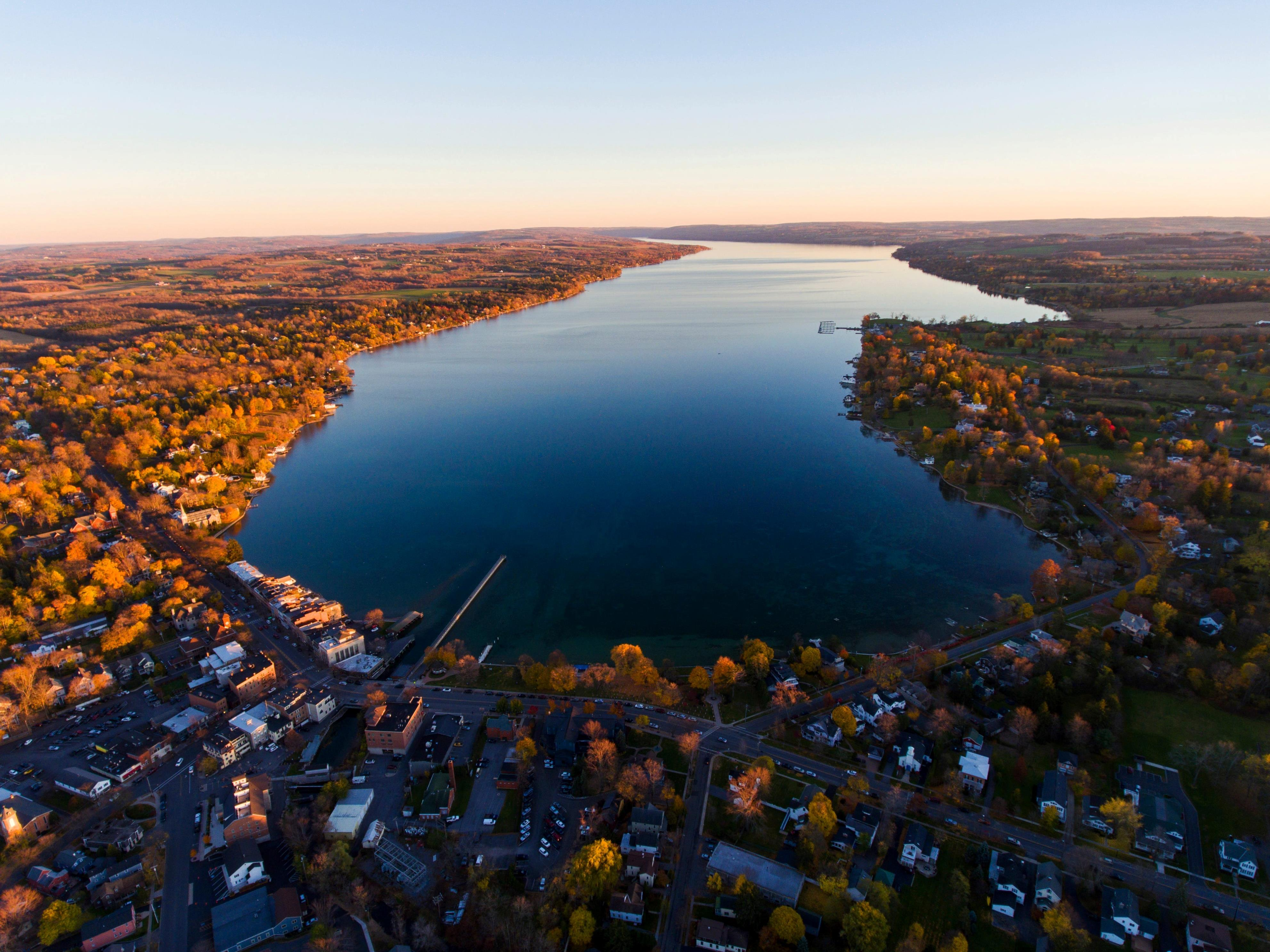 """Slide 7 of 17: Another great spot in New York during the fall is the Finger Lakes region, which is known for its foliage. There is so much to do there, including riding hot-air balloons, hiking, visiting vineyards for wine tastings, relaxing at spas, and trying out Hikyoga (hiking-yoga).Every fall since 2015, the town of Ithaca has transformed into Diagon Alley for a """"Harry Potter""""-themed festival — but the organizers are taking a hiatus this year.If you want to do something spooky for Halloween, check out New York's Haunted History Trail or do a ghost walk.The area is also home to plenty of spots for autumnal eats, including the annual Apple Tasting Tour, the Finger Lakes Cheese Trail, or the Sweet Treat Trail."""