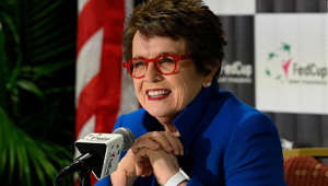 Billie Jean King wearing glasses: ASHEVILLE, NORTH CAROLINA - FEBRUARY 09: Tennis legend Billie Jean King speaks to the media before a first round 2019 Fed Cup match between the USA and Australia at U.S. Cellular Center on February 09, 2019 in Asheville, North Carolina. (Photo by Grant Halverson/Getty Images)