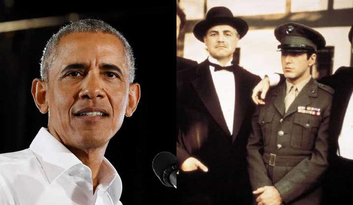 """Slide 8 de 31: Quando questionado sobre seu filme favorito, Obama respondeu: """"Oh, acho que teria que ser 'O Poderoso Chefão'. Um e dois. Três nem tanto. Aquela saga - eu amo aquele filme... Acho que meu favorito tem que ser, a cena de abertura do primeiro 'Poderoso Chefão'... Dá o tom para todo o filme""""."""