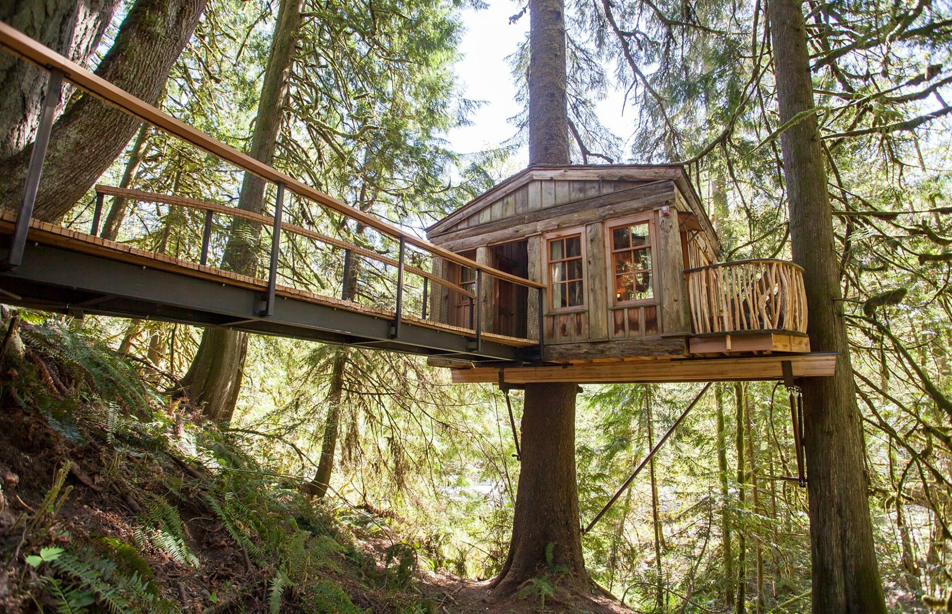 Slide 49 of 52: The six cozy treehouses at this serene retreat, just half an hour from Seattle, are tucked amid cedar and towering Douglas fir trees, with birdsong and the Raging River below providing a soothing soundtrack. Breakfast is provided and there are several restaurants within driving distance, though it's recommended that guests pick up some picnic provisions to make the most of their stay. Guests must wear masks in common areas and both stays and tours must be scheduled in advance.